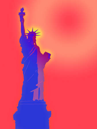 Statue of Liberty Illustration at Dawn with a Bright Sky Stock Illustration - 3483289