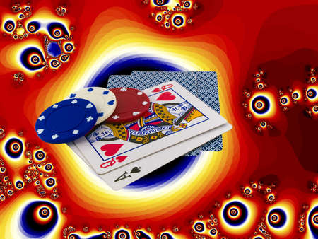 better chances: Playing Cards Queen and Ace with Poker Chips over funky psychedelic bright orange background Editorial