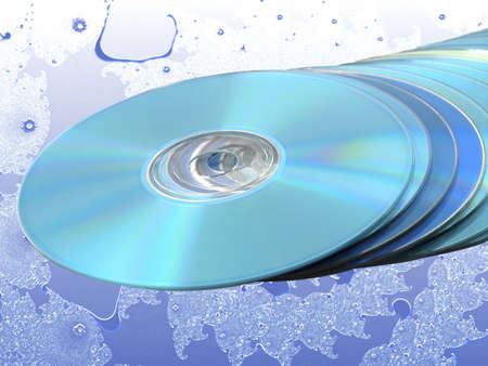bluray: CDs DVDs Blu-ray Stack of Blue Disks Discs over Blue Fractal Stock Photo