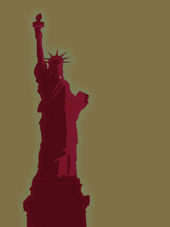 Red Statue of Liberty Illustration with Tan Sky Stock Illustration - 3484509