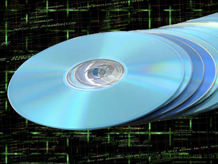bluray: CDs DVDs Blu-ray Stack of Blue Disks Discs with Programming Code Background Stock Photo