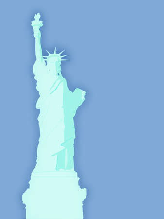 Blue Statue of Liberty Illustration with Sky Background Stock Illustration - 3497813