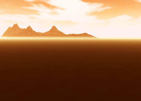 hill distant: Distant Mountain on Horizon Landscape Desert Scene Lots of Room For Text