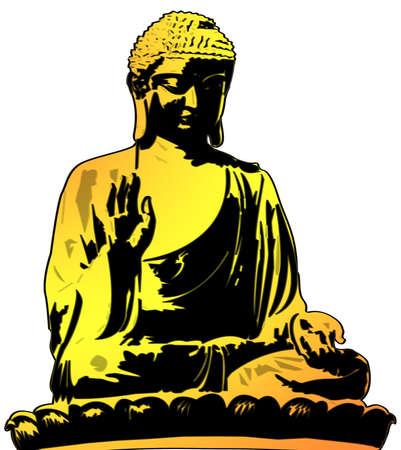 Golden Buddha Sitting Illustration on White Background