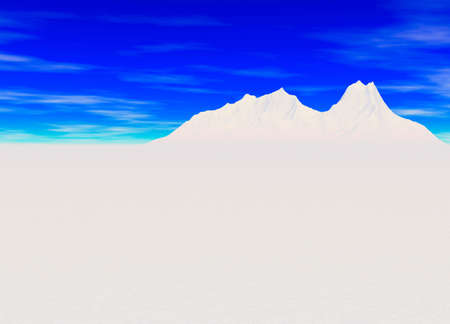 cerulean: Snowy Landscape with Mountain in Far Distance on Horizon Stock Photo