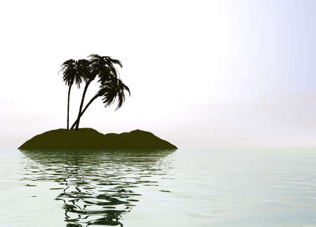 Romantic Desert Island with Palm Tree against the Horizon Stock Photo - 3799755