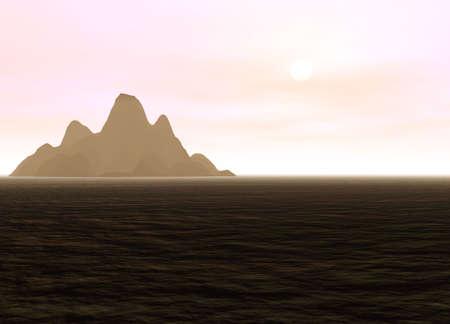 hill distant: Distant Mountain on Horizon Landscape