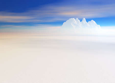hill distant: Snowy Landscape with Mountain in Far Distance on Horizon Stock Photo