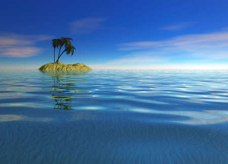 stranded: Romantic Desert Island with Palm Tree against the Horizon