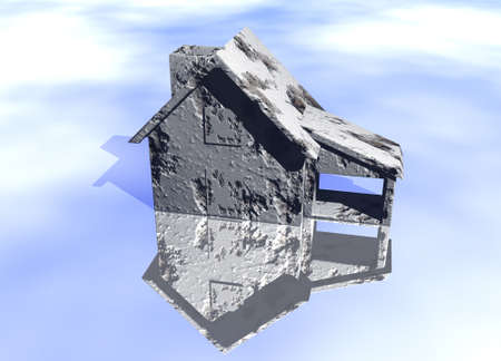 lettings: Concrete Grey Gray House Model on Blue-Sky Background with Reflection Concept Poor or Damaged Home At Rish Stock Photo