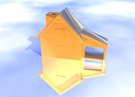 ambition: Bronze House Model on Blue-Sky Background with Reflection Concept Ambition or Progress Stock Photo