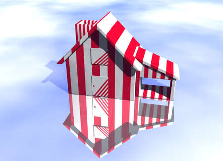 lettings: Carnival Style Striped House Model on Blue-Sky Background with Reflection Concept Joke or Fun or Pest Control Stock Photo