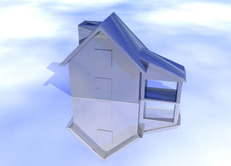 lettings: Blue Stainless Steel House Model on Blue-Sky Background with Reflection Concept Cool Clean Modern