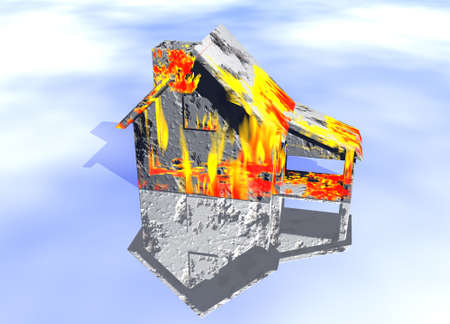 Red Home on Fire House Model with Reflection Concept For Risk or Property Insurance Protection Stock Photo - 3799719