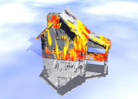 property insurance: Rojo fuego en casa casa modelo de reflexi�n con el concepto de riesgo o de protecci�n de propiedad seguros