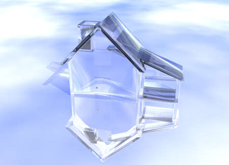 Luxury Clear Glass Diamond House Model on Blue-Sky Background with Reflection Concept Luxurious and Expensive Expense