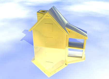 first house: Gold House Model on Blue-Sky Background with Reflection Concept First Place Success and Achievement