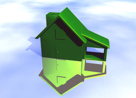 Green House Model on Blue-Sky Background with Reflection Concept Eco Living