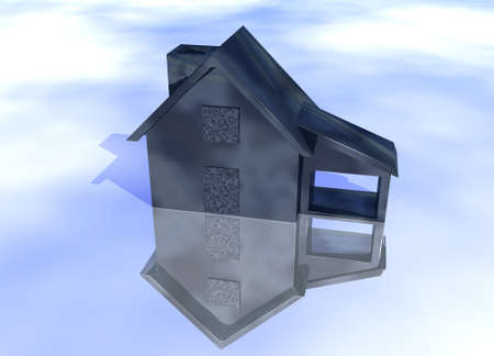 rising prices: Abstract Oily Black House Model on Blue-Sky Background with Reflection Concept Fuel Expenses or Rising Prices and Bad Environment