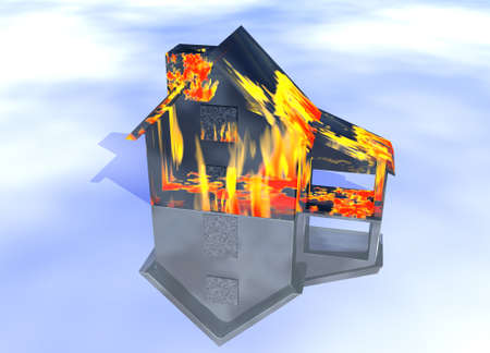 Black Oily Home on Fire House Model with Reflection Concept For Risk or Property Insurance Protection Stock Photo - 3799648