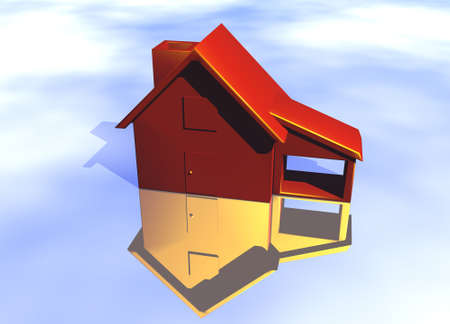 Red House Model with Reflection Concept For Risk or Property Insurance Protection Stock Photo
