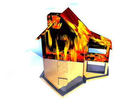 Red Home on Fire House Model with Reflection Concept For Risk or Property Insurance Protection on White Background photo