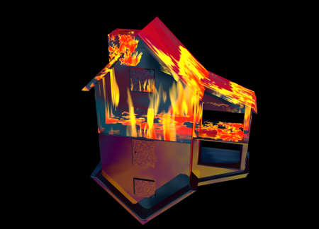Red Home on Fire House Model with Reflection Concept For Risk or Property Insurance Protection on Black Background Stock Photo - 3799644