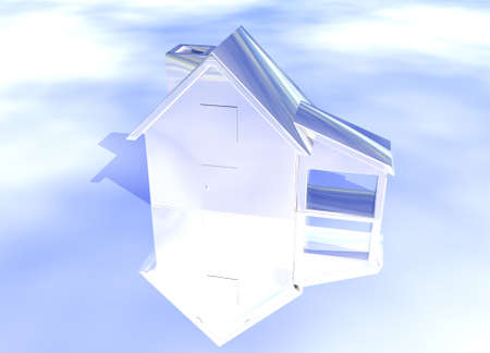 Silver Shiny House Model on Blue-Sky Background with Reflection Concept Second Place Award Stock Photo - 3799618