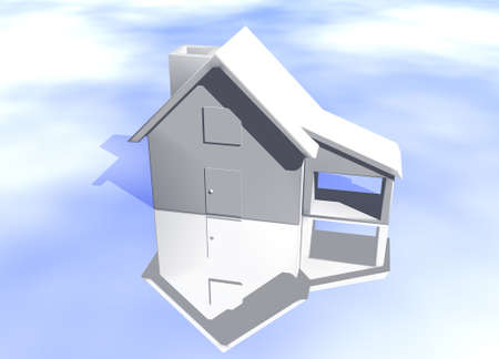 lettings: Plain White House Model on Blue-Sky Background with Reflection Concept Start Home or New Buyer