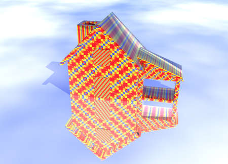 lettings: Abstract Christmas Gift Wrapped House Model on Blue-Sky Background with Reflection Stock Photo