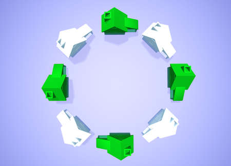 neighbourhood: Ring of White and Green Houses in Circle showing Environmental Friendly Houses Abstract Neighbourhood Stock Photo