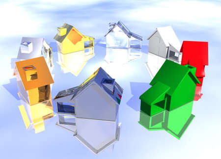 Ring of Various Types of Houses in Different Styles Abstract Neighbourhood Stock Photo - 3799683