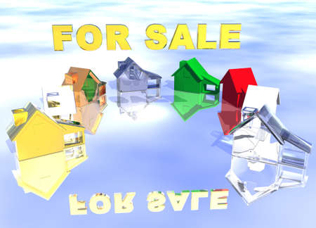 lettings: For Sale Gold Text with Ring of Various Types of Houses in Different Styles Abstract Neighbourhood