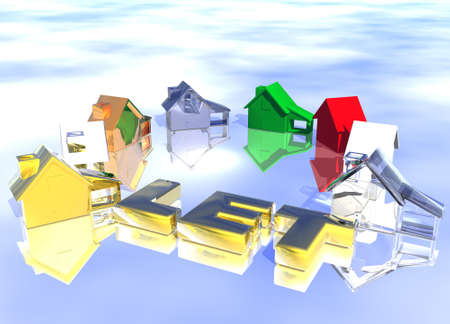 Let Gold Text Ring of Various Types of Houses in Different Styles Abstract Neighbourhood Stock Photo - 3799695