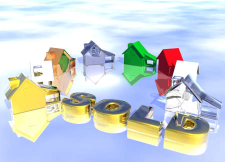 lettings: Sold Gold Text with Ring of Various Types of Houses in Different Styles Abstract Neighbourhood Stock Photo