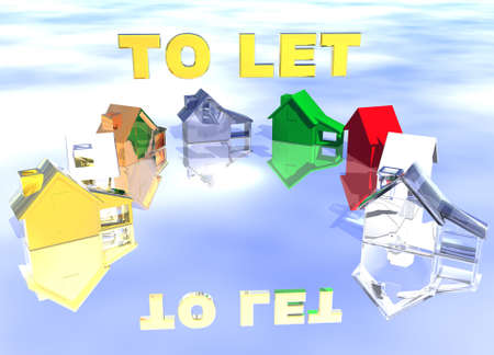 lettings: To Let Gold Text Ring of Various Types of Houses in Different Styles Abstract Neighbourhood