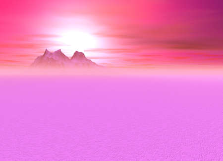 Romantic Pink Sunsetting over a distant Mountainous Plain