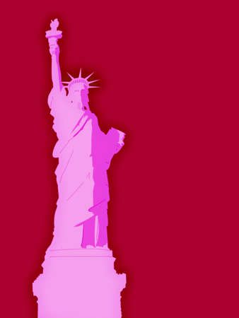 Pink Statue of Liberty Illustration with Blood Red Background Stock Illustration - 3799606
