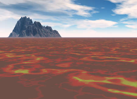 hill distant: Distant Black Mountain On Red Firey Lava Flow Stock Photo