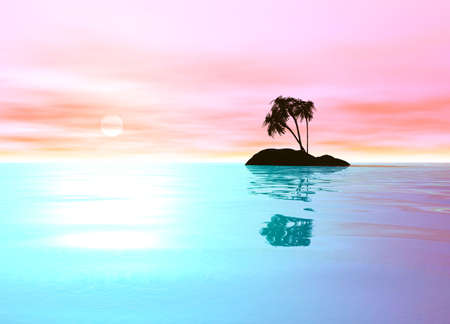 Romantic Pink Desert Island with Palm Tree Sillhouette against the Horizon