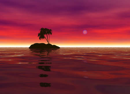 Romantic Desert Island with Palm Tree Silhouette against the Red Horizon
