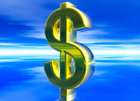 usd: Gold USD Dollar Currency Symbol on Blue Background