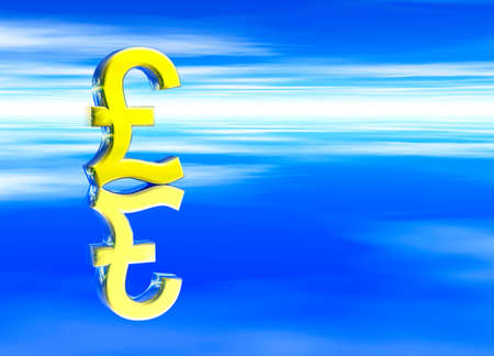 gbp: Gold UK GBP Pound Sterling Currency Symbol on Blue Background Stock Photo