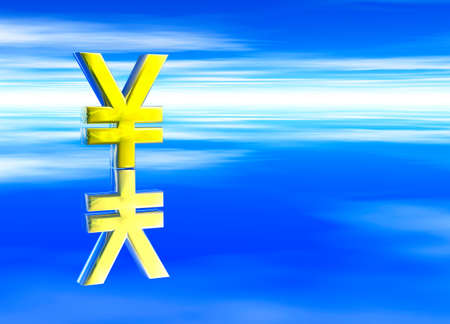 jpy: Gold Japanese YEN JPY Currency Symbol on Blue Background