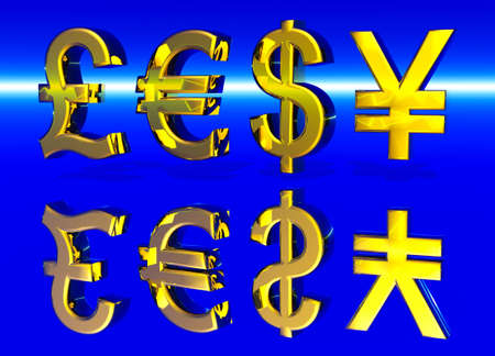 Euro Pound Dollar and Yen Symbols in Gold with Reflection