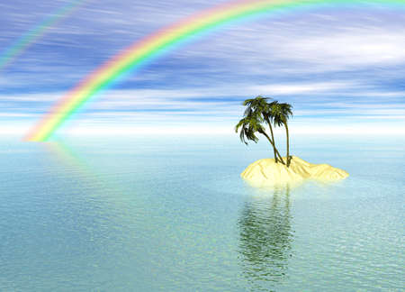 Romantic Desert Island with Palm Tree and Rainbow against the Horizon Stock Photo - 3799811