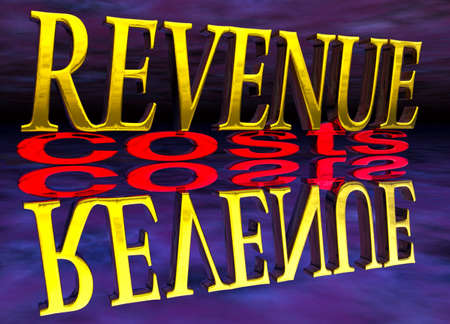 small size: Big Revenue Small Costs Text with Reflection at Night Purple