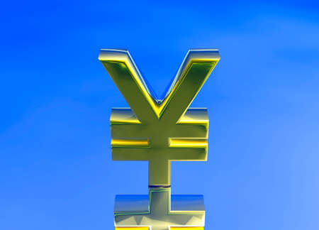 foreign exchange: Gold Japanese YEN JPY Currency Symbol on Blue Background