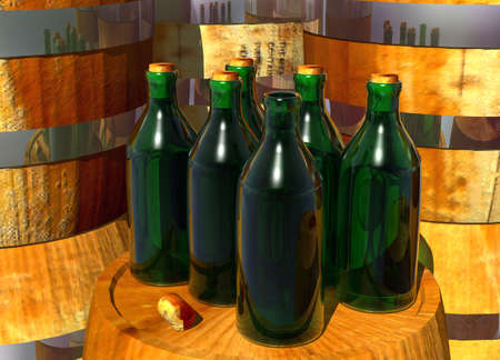 Bottles of Wine on Barrels with an Open Bottle photo