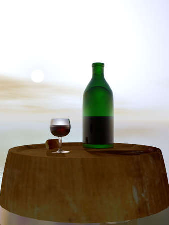 electrolytes: Green Bottle and Glass of Wine on Barrel Keg Stock Photo